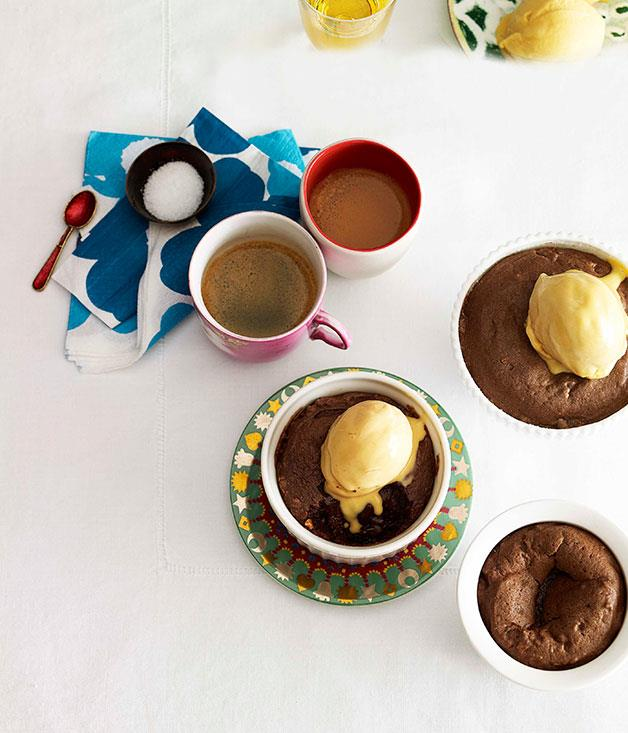 **Peanut butter chocolate fondant with salted caramel ice-cream** **Peanut butter chocolate fondant with salted caramel ice-cream**    [View Recipe](http://www.gourmettraveller.com.au/peanut-butter-chocolate-fondant-with-salted-caramel-ice-cream.htm)     PHOTOGRAPH **CHRIS CHEN**