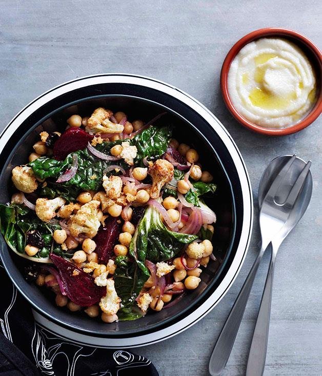 "**[Warm cauliflower, chickpea and beetroot salad](https://www.gourmettraveller.com.au/recipes/chefs-recipes/warm-cauliflower-chickpea-and-beetroot-salad-8922|target=""_blank"")**"