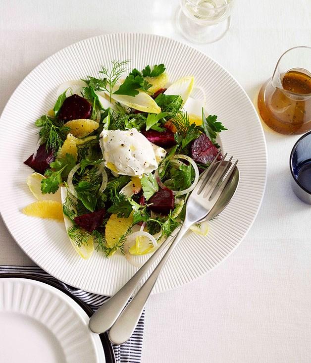 Beetroot, witlof, labne and orange salad
