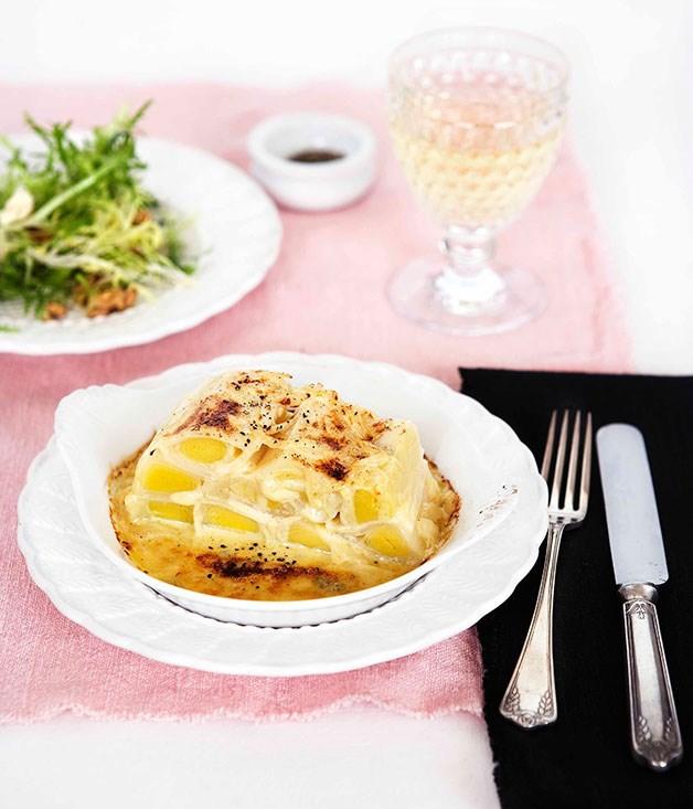Leek terrine gratin and Roquefort sauce