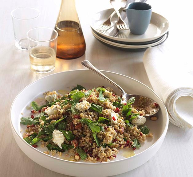 Cracked wheat and freekah salad with barberry dressing
