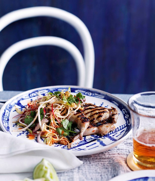 Banana-blossom salad with seared quail and chilli, lime and coconut dressing