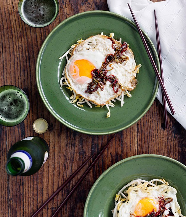 Home-style crisp fried eggs with green onions, chilli and oyster sauce
