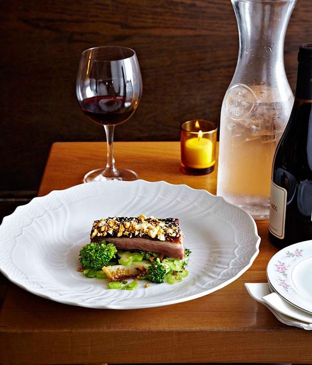 Island duck, broccoli, sesame crumbs, mulberry mustard