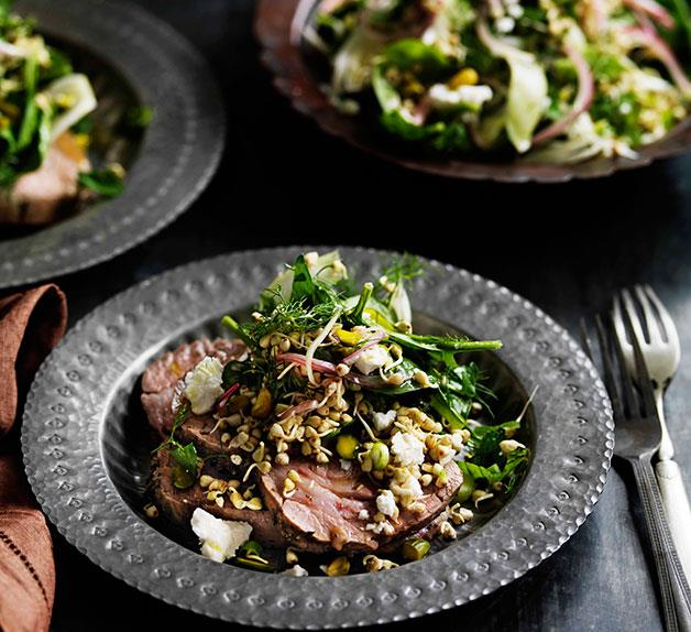 Slow-roasted lamb with sprouted buckwheat, fennel and spinach salad