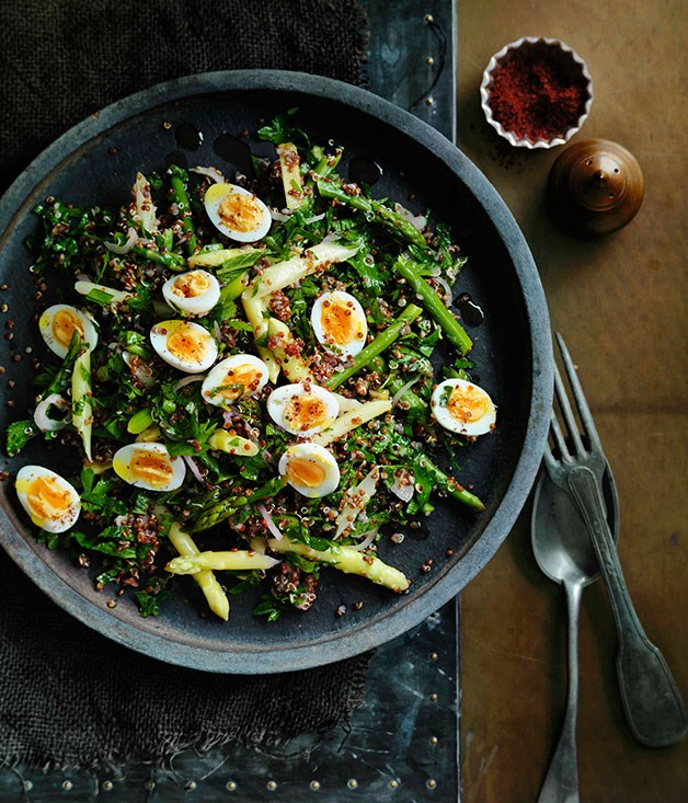 "[**Red quinoa and quail egg salad**](https://www.gourmettraveller.com.au/recipes/browse-all/red-quinoa-and-quail-egg-salad-11507|target=""_blank"") <br><br> Looking for protein alternative to meat? This power-packed combination of quinoa and quail eggs is your answer."