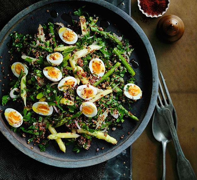 Red quinoa and quail egg salad