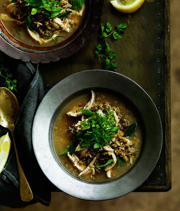 "**[Arabian freekah soup with chicken, yoghurt and herbs](https://www.gourmettraveller.com.au/recipes/browse-all/arabian-freekah-soup-with-chicken-yoghurt-and-herbs-11508|target=""_blank"")**"