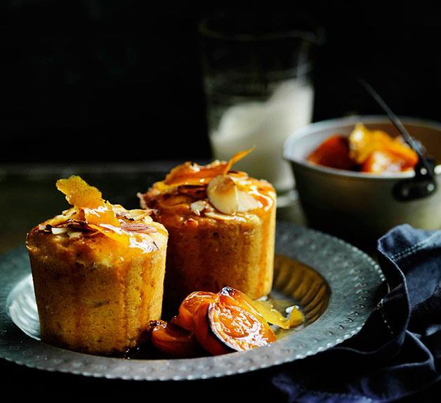 Roast apricot, almond and quinoa cakes