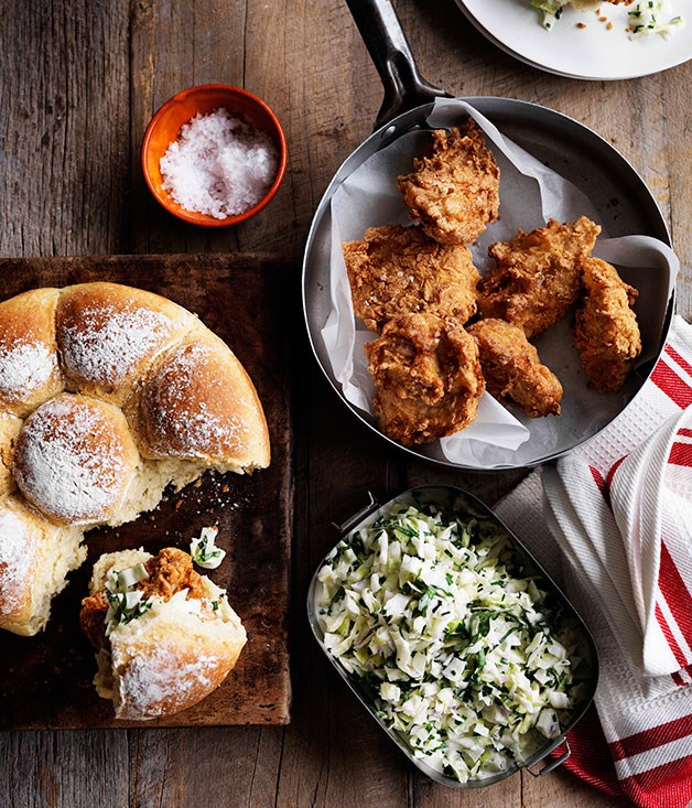 "[**Fried chicken and coleslaw rolls**](https://www.gourmettraveller.com.au/recipes/browse-all/fried-chicken-and-coleslaw-rolls-11512|target=""_blank"")<br> When crispy chicken comes together with coleslaw in a soft pull-apart roll, magic happens."