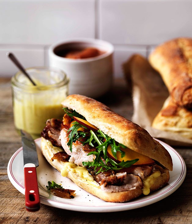 Porchetta, crackling and nectarine relish on ciabatta
