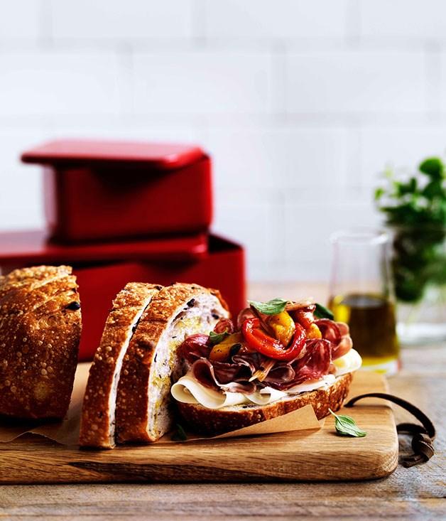 Sopressa, coppa, provolone and peperonata on olive bread