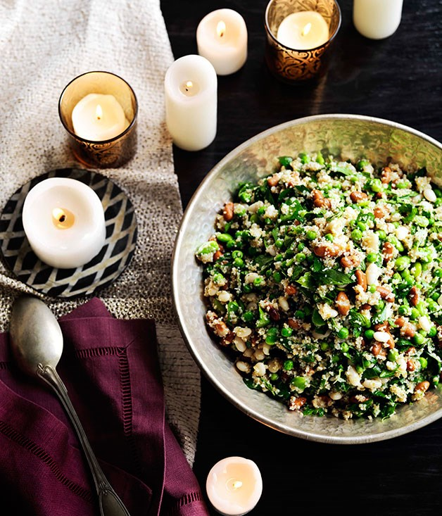 Tabbouleh of spring beans, seeds and nuts