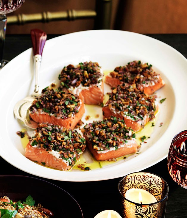 "[**Melting salmon in fragrant salt, tarator style**](https://www.gourmettraveller.com.au/recipes/browse-all/melting-salmon-in-fragrant-salt-tarator-style-11527|target=""_blank"")"