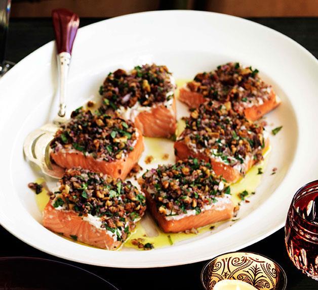 Melting salmon in fragrant salt, tarator style