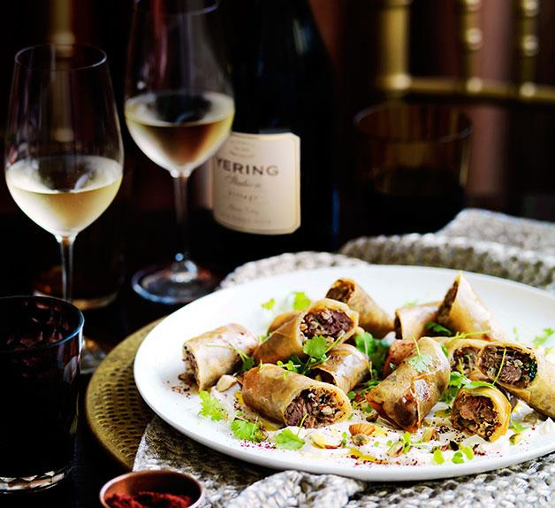 Aromatic lamb spring rolls with labne and toasted grains