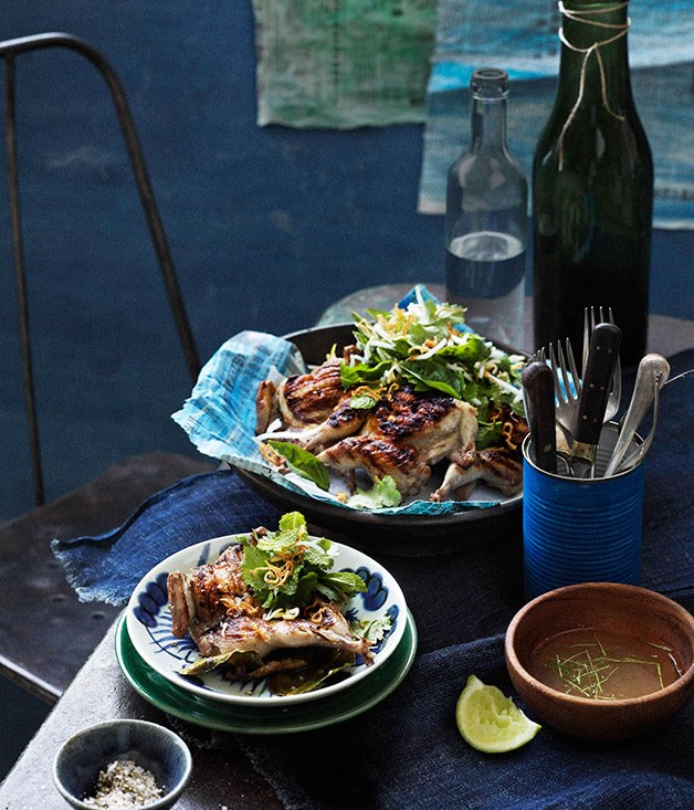 "[**Thai-style barbecued quail with lemon pepper dipping sauce**](https://www.gourmettraveller.com.au/recipes/browse-all/thai-style-barbecued-quail-with-lemon-pepper-dipping-sauce-11543|target=""_blank"")"