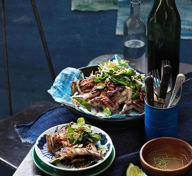 Thai-style barbecued quail with lemon pepper dipping sauce