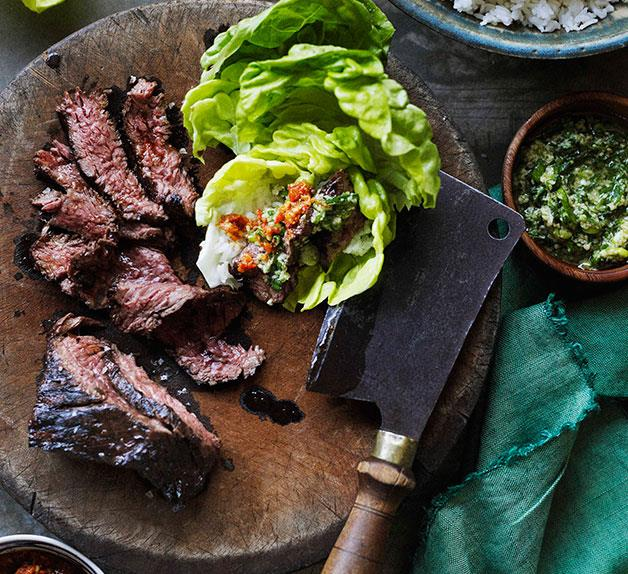 Korean-style barbecued skirt steak ssäm with ginger and spring onion sauce