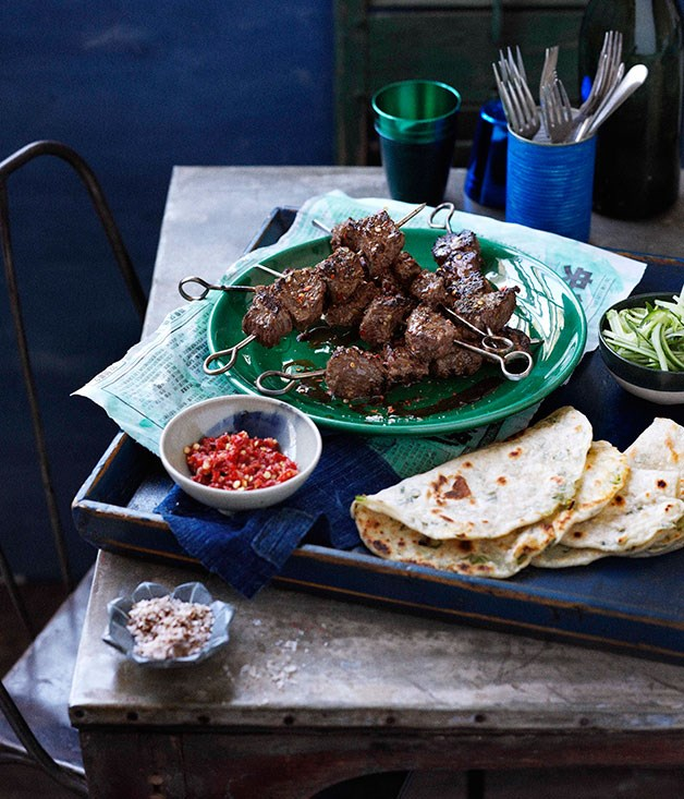 **Cumin lamb skewers with preserved chillies**
