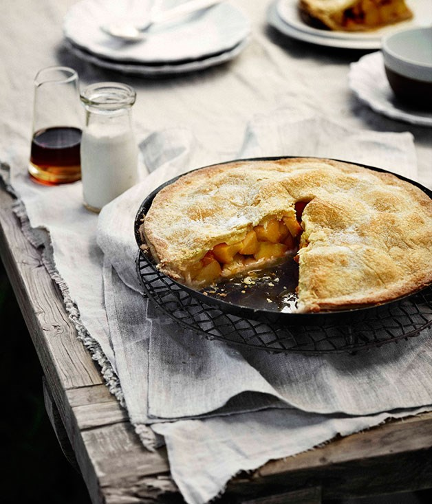Sugar-crusted peach pie with almond cream
