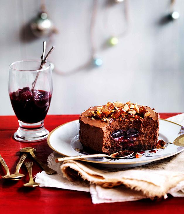 **Chocolate shortbread and truffle cakes with sour cherry jam**