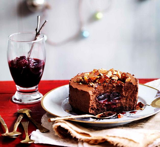 Chocolate shortbread and truffle cakes with sour cherry jam