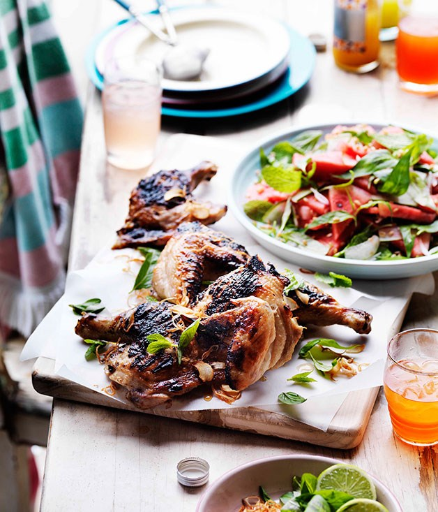 Grilled chicken with pickled watermelon salad