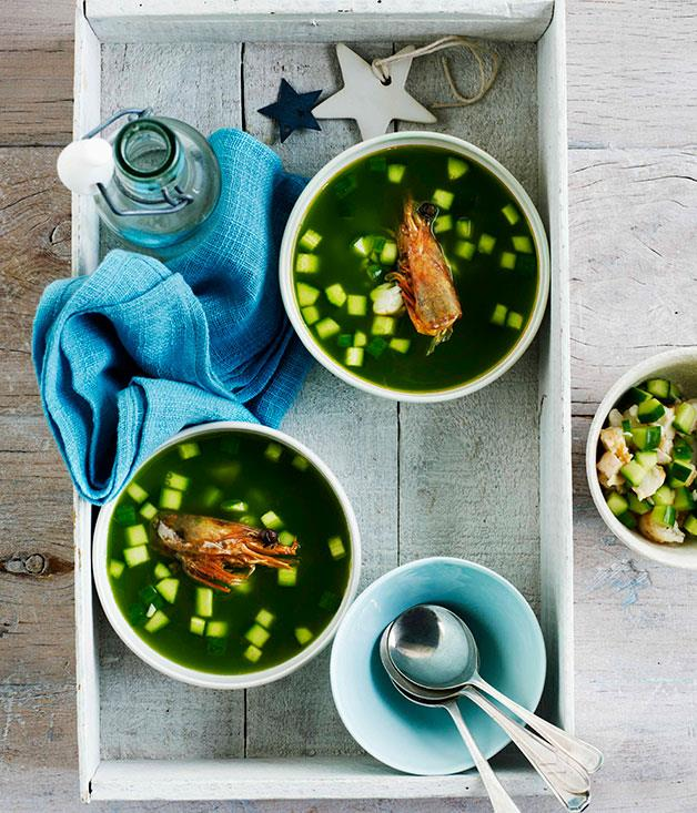"""[**Chilled cucumber and prawn soup with crisp prawn heads**](https://www.gourmettraveller.com.au/recipes/browse-all/chilled-cucumber-and-prawn-soup-with-crisp-prawn-heads-10905