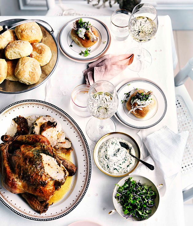 "[**Roast herb chicken with Parker House rolls**](https://www.gourmettraveller.com.au/recipes/browse-all/roast-herb-chicken-with-parker-house-rolls-10909|target=""_blank"") <br><br> This is the dish to bring out once the party is in full swing - it'll fuel your guests into the wee hours. You can have all the components made ahead of time and assemble them when the time is right. Parker House rolls, invented at the Parker House Hotel in Boston, are a soft white oval roll popular in the 1920s."