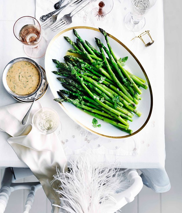 "[**Asparagus with blood-orange and chervil hollandaise**](https://www.gourmettraveller.com.au/recipes/browse-all/asparagus-with-blood-orange-and-chervil-hollandaise-10910|target=""_blank"") <br><br>"