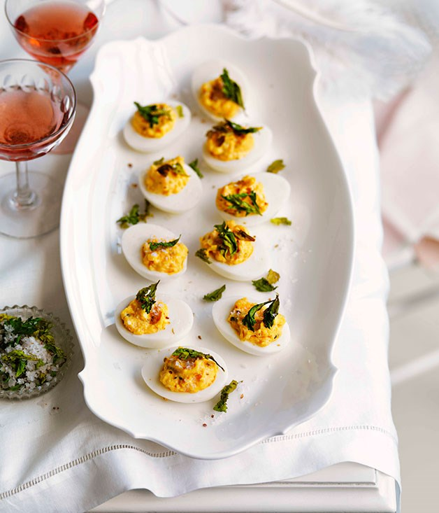 "[**Devilled eggs with celery and coriander salt**](https://www.gourmettraveller.com.au/recipes/browse-all/devilled-eggs-with-celery-and-coriander-salt-10911|target=""_blank"") <br><br>"