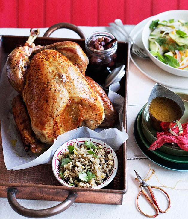 Roast turkey with burghul, preserved lemon and pine nuts