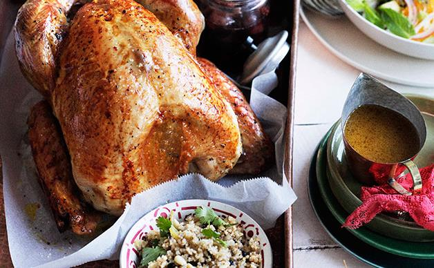 Roast turkey with burghul, preserved lemon and pine nuts