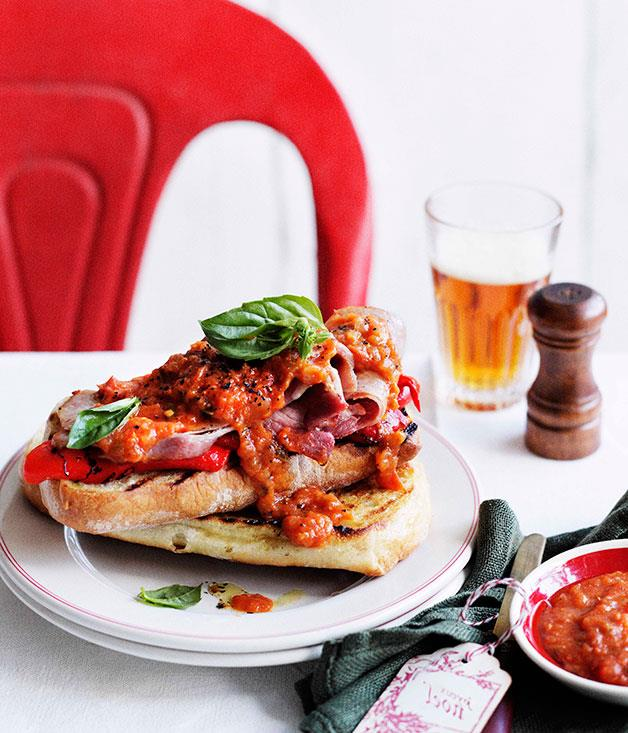 """[**Fried ham with homemade tomato sauce and grilled bread**](https://www.gourmettraveller.com.au/recipes/browse-all/stephanie-alexanders-fried-ham-with-homemade-tomato-sauce-and-grilled-bread-10918