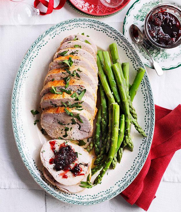 """[**Turkey roll with sour cherry relish**](https://www.gourmettraveller.com.au/recipes/browse-all/stephanie-alexander-turkey-roll-with-sour-cherry-relish-10919