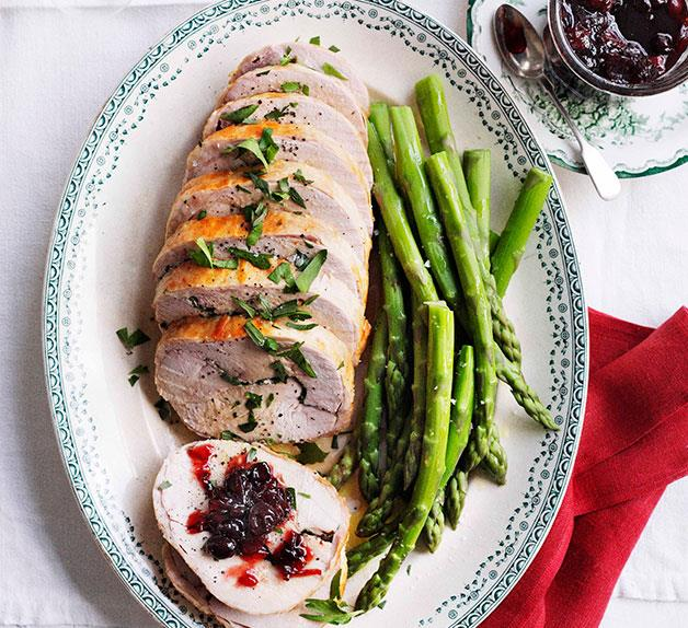 Turkey roll with sour cherry relish