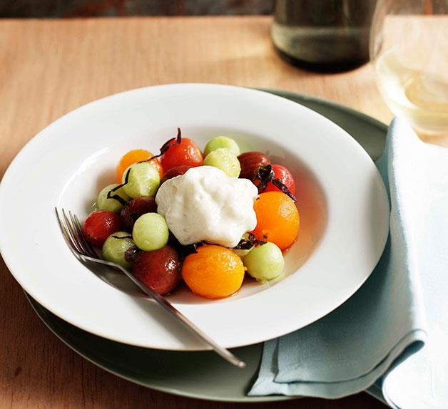 Tomato salad with shiso and cucumber