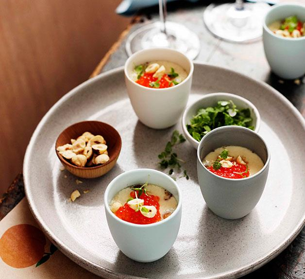 Egg custards with hazelnuts, trout roe and lemon balm