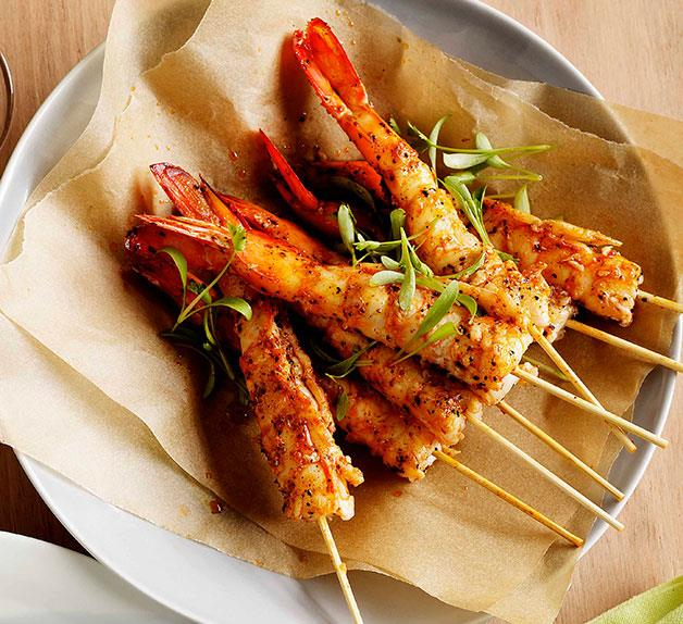 Pan-fried prawns with Creole spice