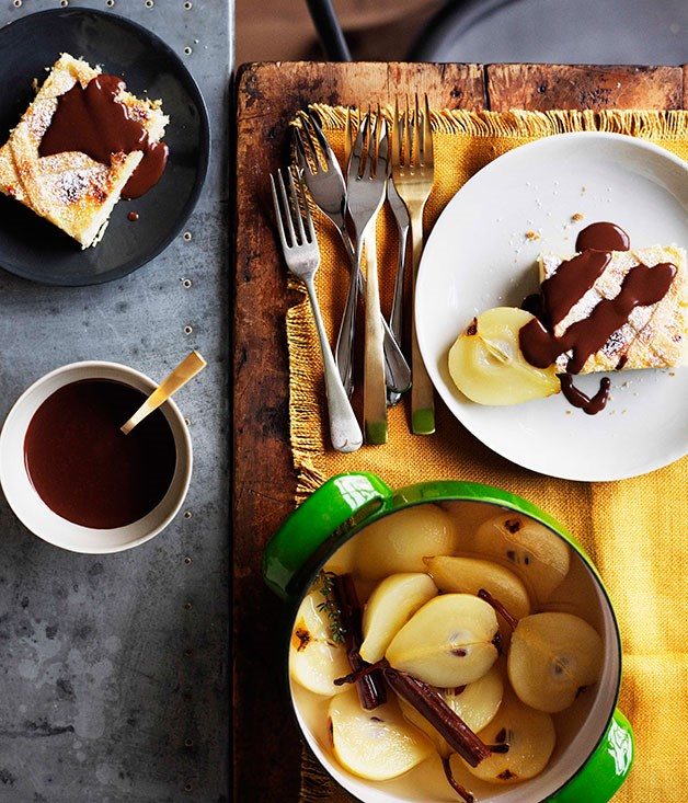 Ricotta, almond and chocolate tarts with poached pears
