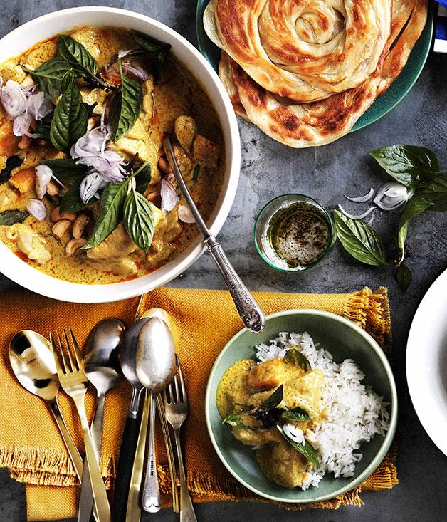 "**[Chicken and bamboo-shoot yellow curry with roti and rice](https://www.gourmettraveller.com.au/recipes/browse-all/chicken-and-bamboo-shoot-yellow-curry-with-roti-and-rice-10943|target=""_blank"")**"