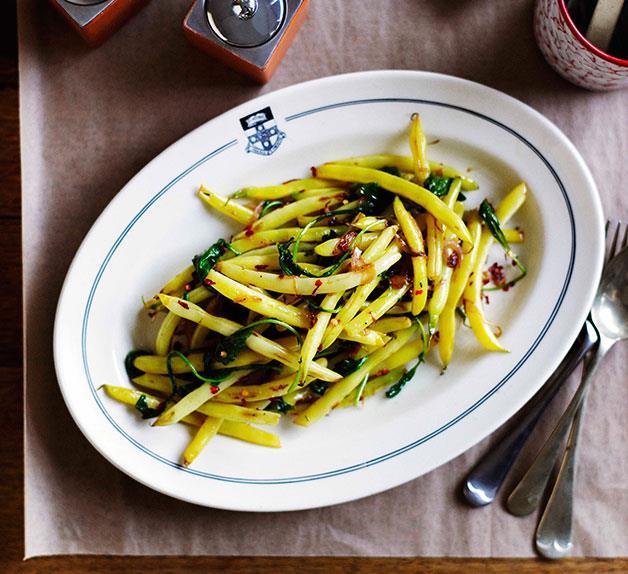 Seared yellow beans 'n' greens