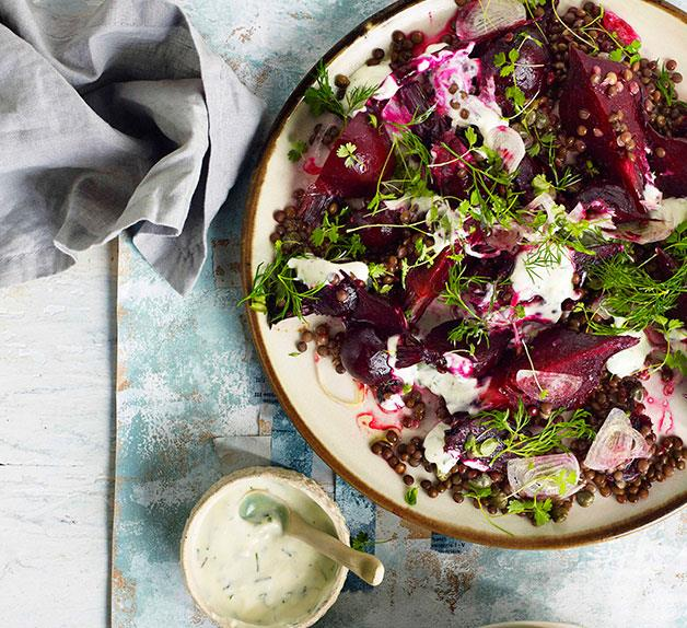 Beetroot salad with lentils and yoghurt dressing