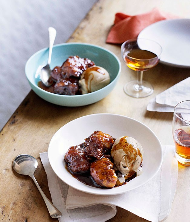 Panela syrup dumplings with espresso-caramel ice-cream