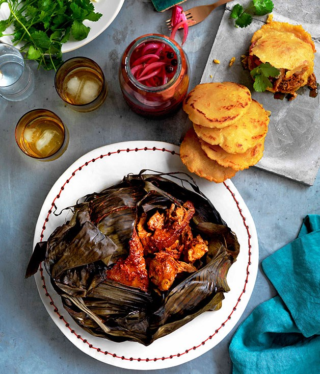 "[**Puerco pibil, Yucatán pickles and gorditas**](https://www.gourmettraveller.com.au/recipes/browse-all/puerco-pibil-yucatan-pickles-and-gorditas-10991|target=""_blank"")"