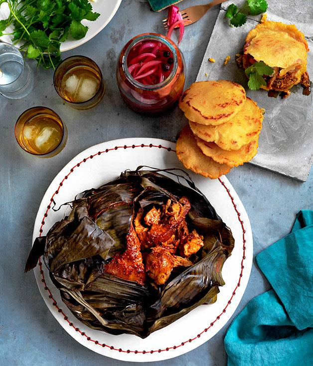 """[**Puerco pibil, Yucatán pickles and gorditas**](https://www.gourmettraveller.com.au/recipes/browse-all/puerco-pibil-yucatan-pickles-and-gorditas-10991