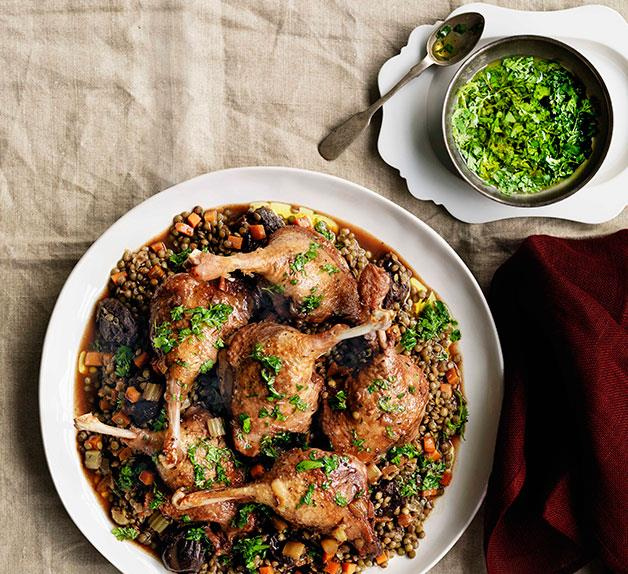 Duck with red wine, prunes and lentils