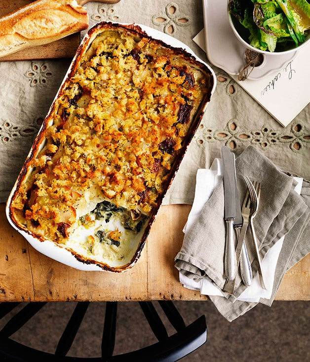 Potato, leek and silverbeet gratin
