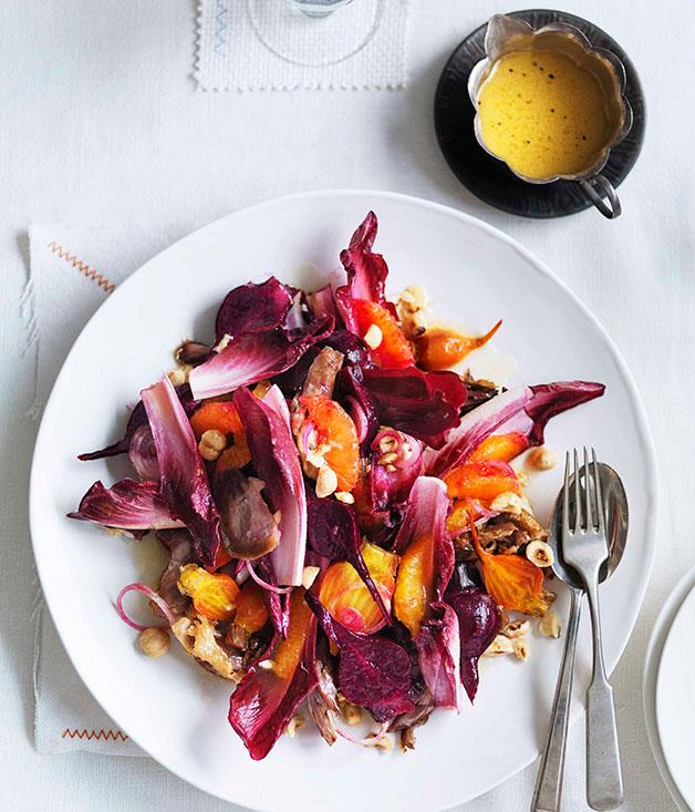 "**[Duck, orange and beetroot salad](https://www.gourmettraveller.com.au/recipes/browse-all/duck-orange-and-beetroot-salad-11016|target=""_blank"")**"